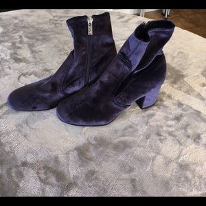 Unisa Velvet Navy Ankle Boots (NEW)